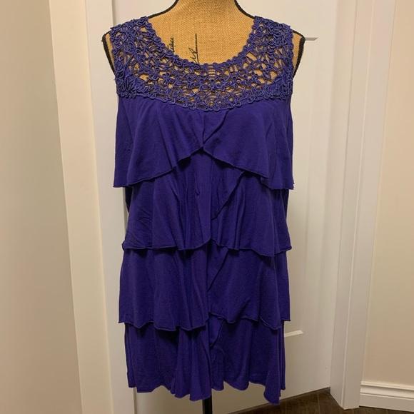 Pennington's Purple Tiered Lace Neckline Shirt